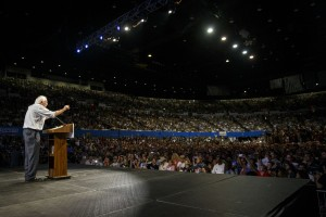 U.S. Senator Bernie Sanders, an independent from Vermont and 2016 Democratic presidential candidate, speaks during a campaign event at the Los Angeles Memorial Sports Arena in Los Angeles, California, U.S., on Monday, Aug. 10, 2015. Some 27,000 people descended Monday night on the Los Angeles Memorial Sports Arena, which has hosted acts such as Madonna and Pink Floyd, to hear from a raspy-voiced 73-year-old who has become the 2016 political season's breakout star. Photographer: Patrick T. Fallon/Bloomberg via Getty Images